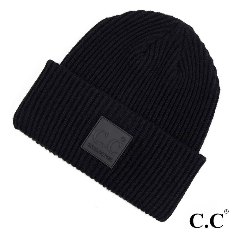 #E59 CC Solid Ribbed Knit Beanie
