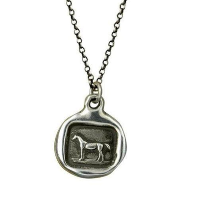 Horse Necklace Equestrian Jewelry - Horse wax seal with equestrian design - equos