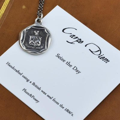 Carpe Diem Wax Seal Necklace of a Squirrel and Owls 'Seize the Day' - Carpe Diem pendant