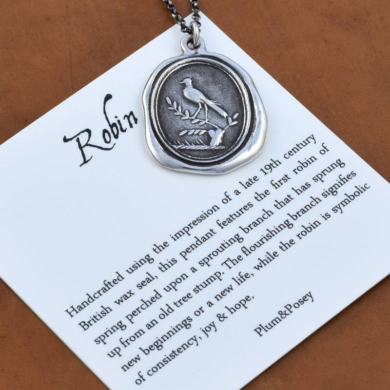 Robin on Branch Wax Seal Pendant Necklace - Spring Constancy