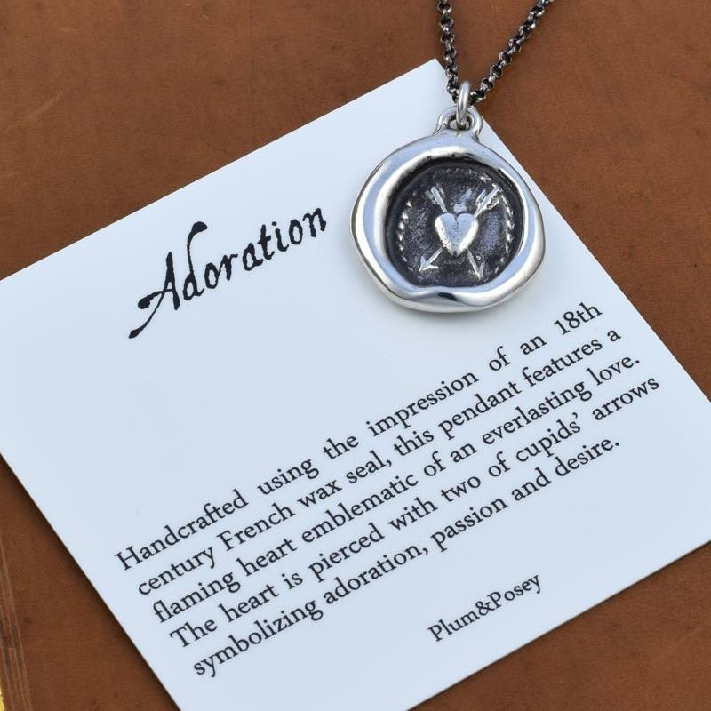 Adoration Necklace - Flaming Heart and Arrows