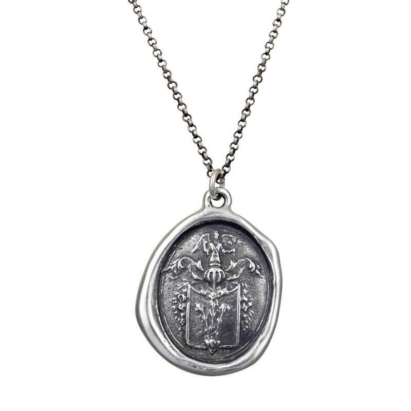 Angel and Fleur De Lis Necklace
