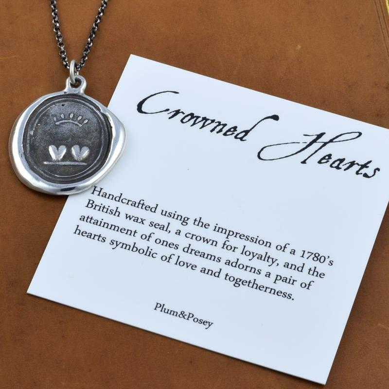 Crowned Hearts Wax Seal Pendant Necklace