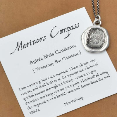 Mariners Compass Wax Seal Necklace Antiqued - Compass Wax Seal Pendant from Antique Wax Seal