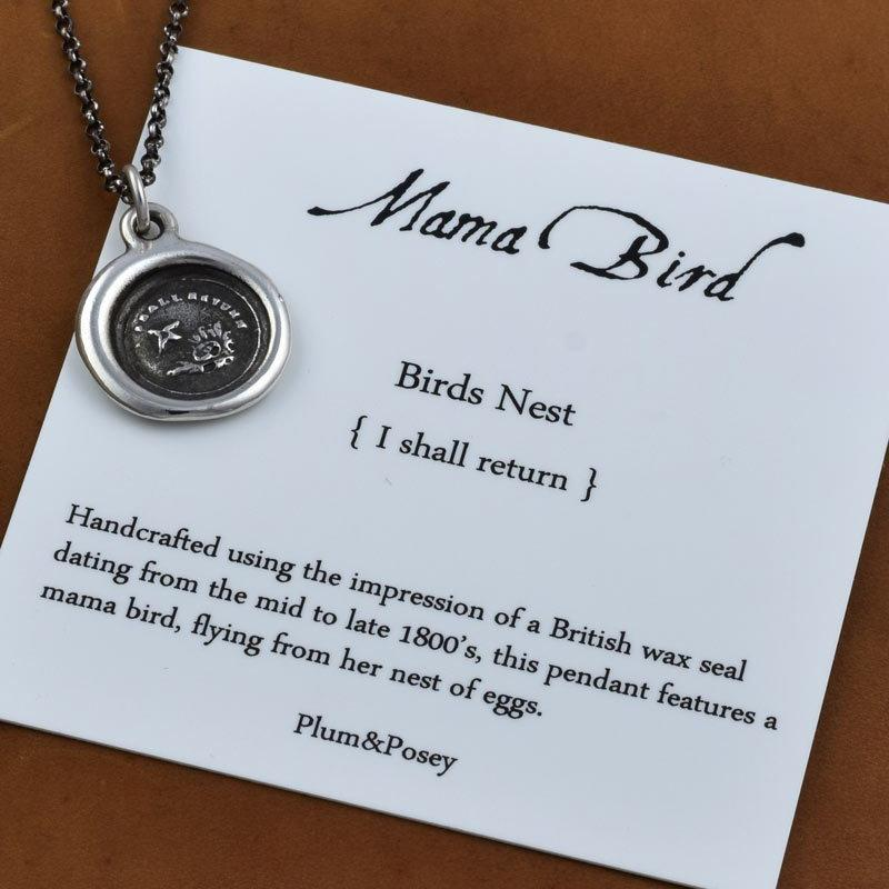 Birds Nest Wax Seal Charm Necklace - Mom Necklace - Mothers Necklace Mama Bird