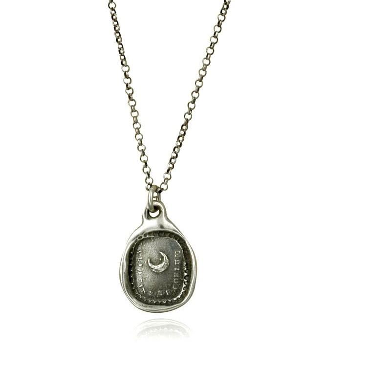 Moon Wax Seal Necklace - What is heaven without thee - Quid sine te coelum