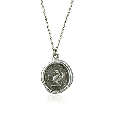 Griffin and Cross Wax Seal Necklace - Guardianship and Faith