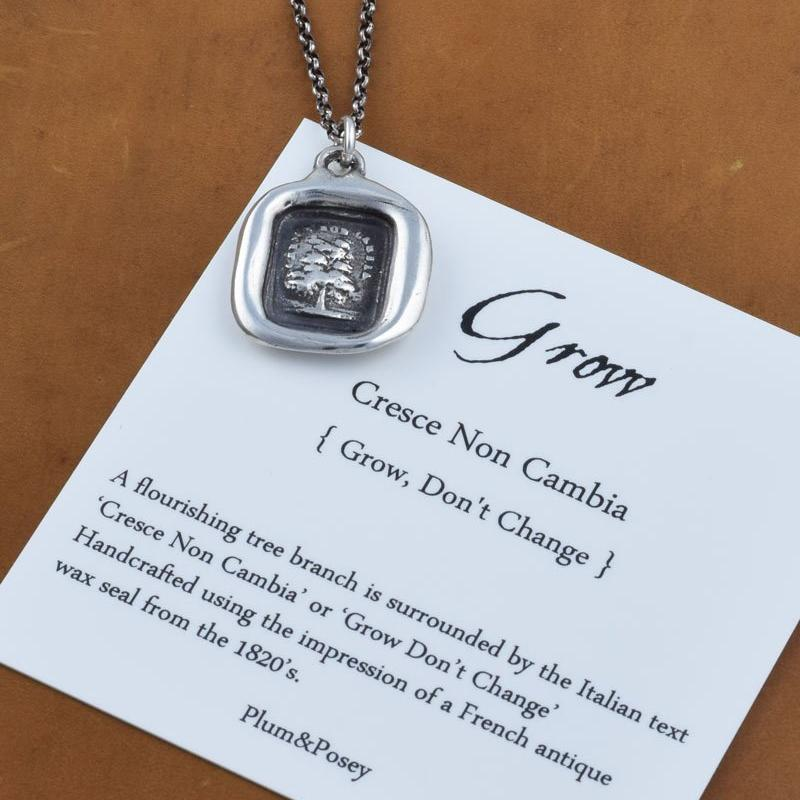 Grow don't change Evergreen Tree Wax Seal Pendant in Italian