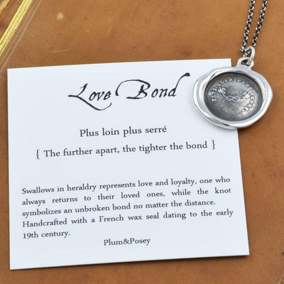 Love Bond - Swallow & Love Knot Wax Seal - The further apart, the tighter our bond