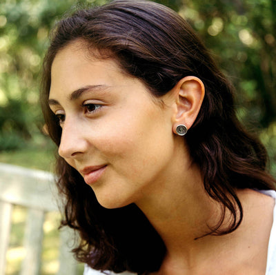 Hourglass  Time is Short Stud Wax Seal Earrings