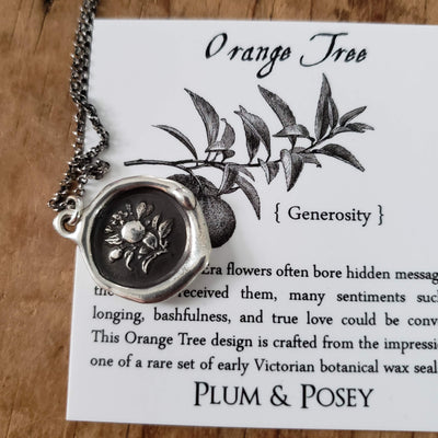Orange Tree ~ Generosity Wax Seal Necklace