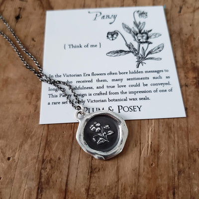 Pansy Wax Seal Necklace ~ Think of me