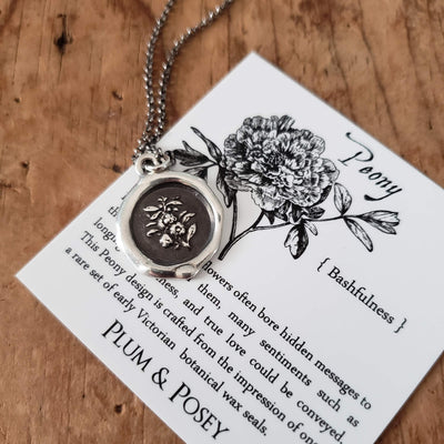 Peony ~ Bashfulness Wax Seal Necklace
