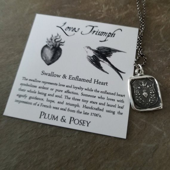Loves Triumph - Swallow and Enflamed Heart  Necklace