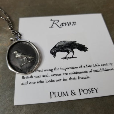 Nevermore Raven Wax Seal Necklace