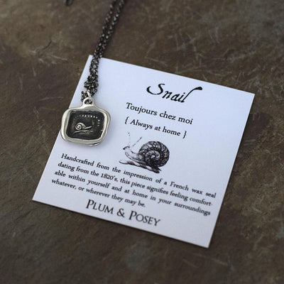 Always at Home - Snail pendant from antique french wax seal