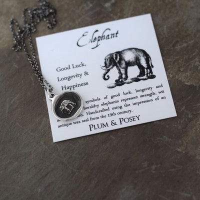 Elephant Wax Seal Necklace - Good luck