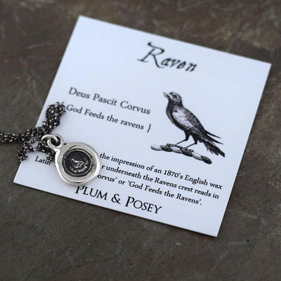 Mini Raven Necklace - God Feeds the Ravens