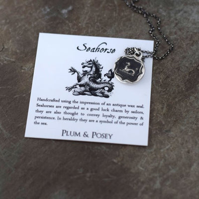 Seahorse necklace - Wax seal necklace made from an antique wax seal with seahorse design