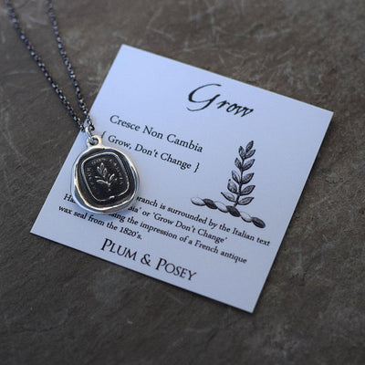 Grow, don't change - Wax Seal Necklace in Italian - Tree Branch Cresce Non Cambia