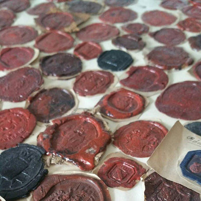 Large collection of wax seals, pasted on board. German wax seal collection ready to frame