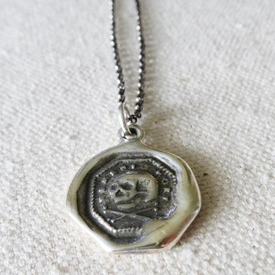 Skull & Crossbone Necklace -  Memento Mori Wax Seal Skull Necklace