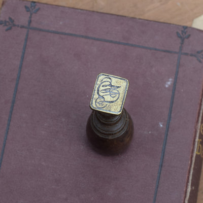 Victorian Monogram Wax Seal - Wood & Brass