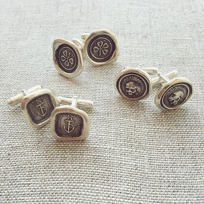 Truth Prevails Wax Seal Crest Cufflinks - Wheat and Crown
