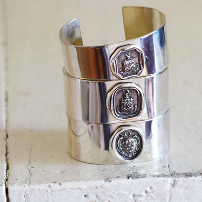 Squirrel & Owl Carpe Diem Wax Seal Cuff Bangle Bracelet
