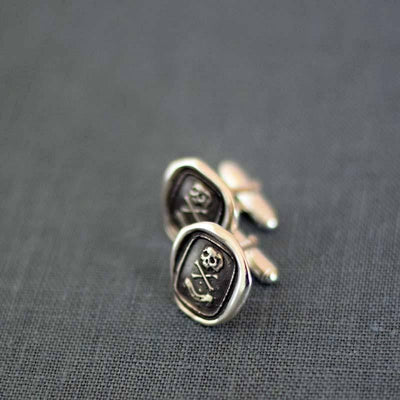 Skull Cufflinks Skull and Crossbones - From an antique Memento Mori Wax Seal with each cuff link featuring 'Death or Glory'