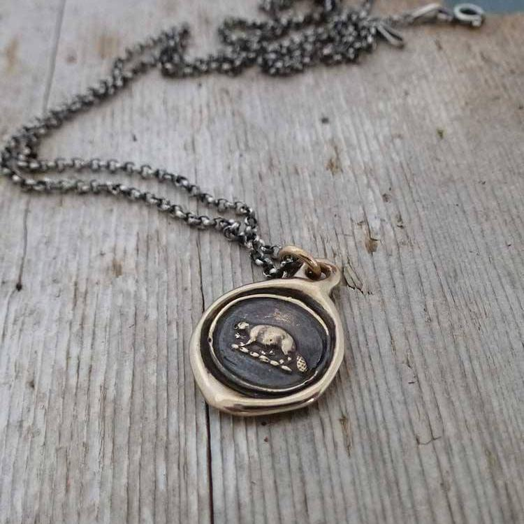 Industry and Perseverance Wax Seal Necklace of a Beaver in Bronze