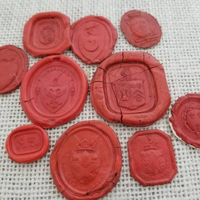 Heraldic Crest Collection of 10 antique Georgian and Victorian wax seal impressions