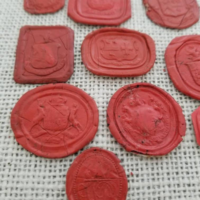 Collection of 10 antique Heraldic Crest Georgian and Victorian wax seal impressions