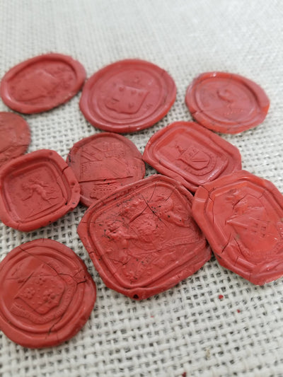 Gorgeous collection of 10 antique Heraldic Crest Georgian and Victorian wax seal impressions