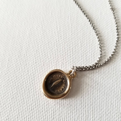 Bronze Always Sincere Victorian Whimsy Wax Seal Necklace