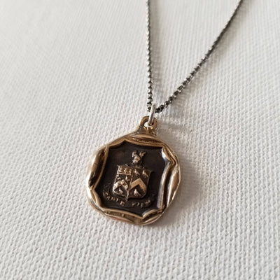 Bronze Carpe Diem Wax Seal Necklace of a Squirrel and Owls 'Seize the Day'