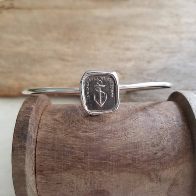 Hope Sustains Me Wax Seal Bracelet - Anchor Cuff Bangle Bracelet