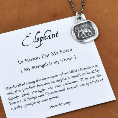 Bronze Elephant Strength  necklace - My Strength is my Virtue