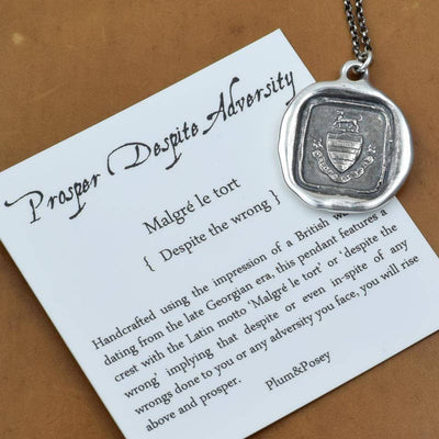 Bronze Prosper Despite Adversity Dog Crest Necklace