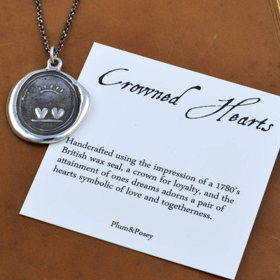 Loyalty and Love Crowned Hearts Wax Seal Necklace in Bronze