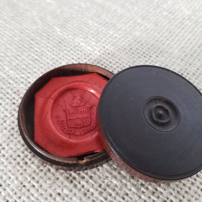 Wax seal impression of a Unicorn & Crown Crest in original treen turned box