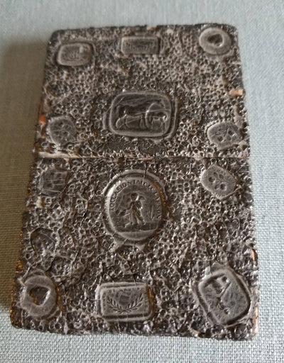 Scarce black antique Victorian wax sealed calling card case circa 1850 - Wood and sealing wax