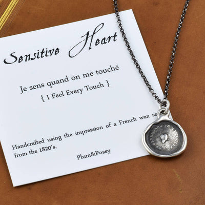 Bronze Sensitive Heart Necklace - I feel every touch
