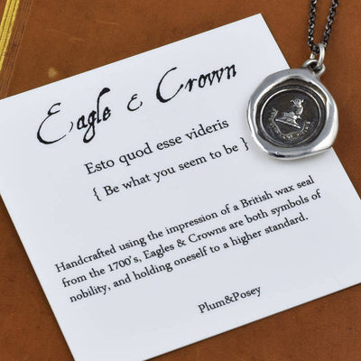 Eagle and Crown Wax Seal Pendant in Bronze