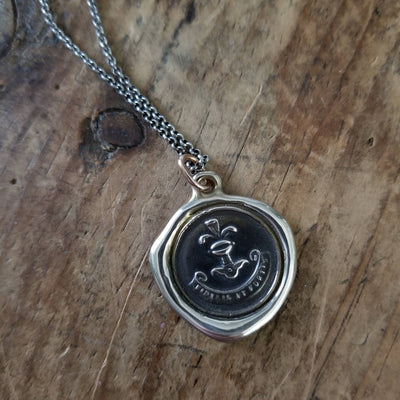 Bronze Loyalty Wax seal necklace in Latin from antique seal - Fidelis et Fortis - Loyal and Strong