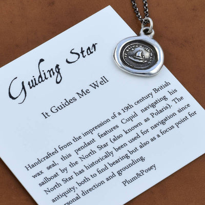 Bronze Guiding  Necklace - Cupid's Sailing Boat and North Star - It Guides me well