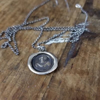 Bronze Confidence Wax Seal Necklace - Fist full of wheat - My Harvest Will Arrive