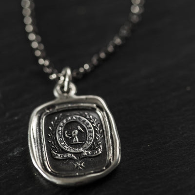 Courage and Challenge necklace wax seal jewelry - with two Latin mottos
