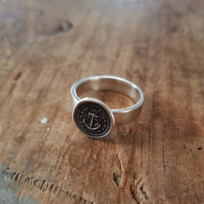 Anchor 'Hopes Sustains Me' Wax Seal Ring
