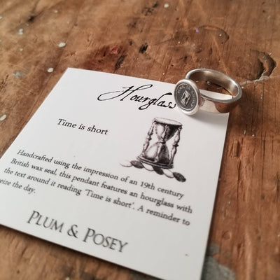 Time is Short Hourglass Wax Seal Ring